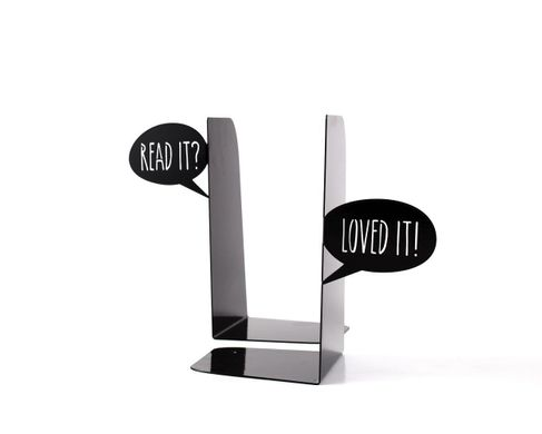 "Metal Bookends ""Dialogue of book lovers"" by Atelier Article, Black"
