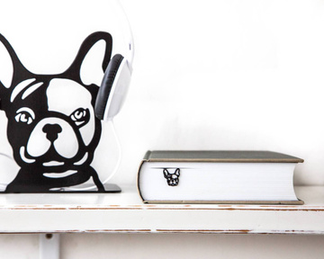 "Metal Bookmark for Books ""French bulldog"" by Atelier Article, Black"