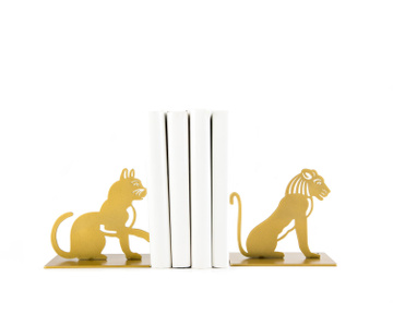 "Metal Bookends ""A Lion and A Cat"" by Atelier Article, Golden"