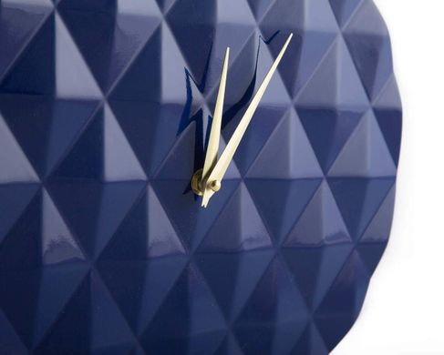 Diamond pattern round clock // Retro Mod Geometry pattern // by Atelier Article, Blue