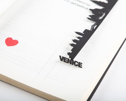 Metal bookmark Venice cityscape by Atelier Article, Black