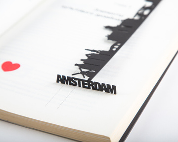Metal bookmark Cityscape Amsterdam by Atelier Article, Black