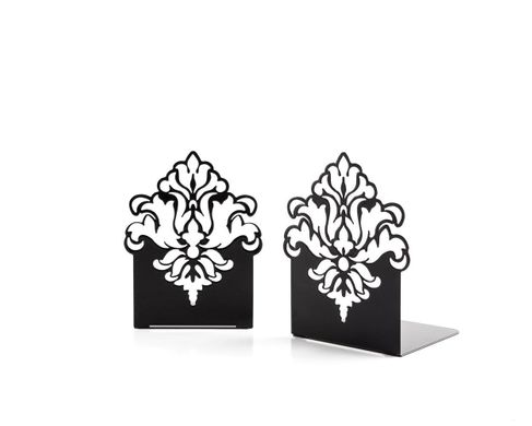 "Metal Bookends ""Ornament"" functional shelf decor by Atelier Article, Black"