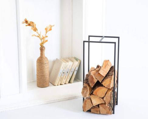 Log Holder Small with a handle // Firewood Carrier , Black