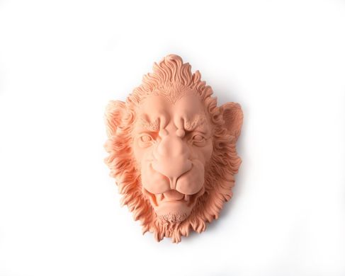 Lion Ceramic Plaster Head Terracotta by Atelier Article, Peach