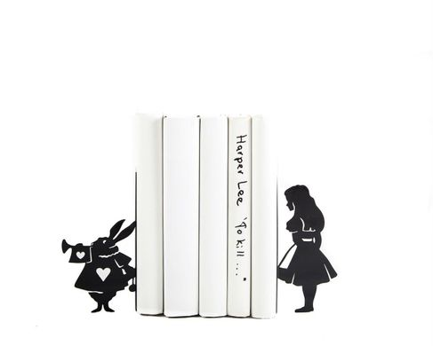 "Metal Bookends ""Alice and White Rabbit "" Lewis Carroll tribute by Atelier Article, Black"