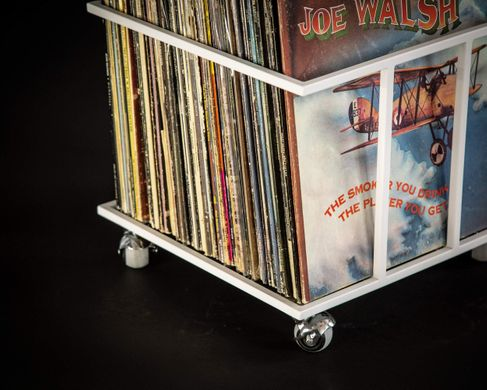 LP storage // Album crate // Record box on rotating wheels // container holds from 70 to 100 LPs // free shipping