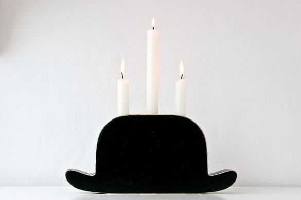 "Candle holder ""Light My Bowler"" by Atelier Article"