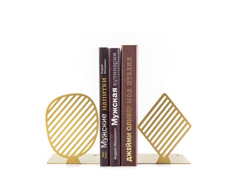 Modern bookends «Stripes» golden edition by Atelier Article, Golden