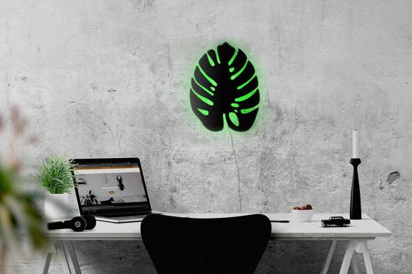 Wall light Monstera led technology // Wall Art // by Atelier Article, Green