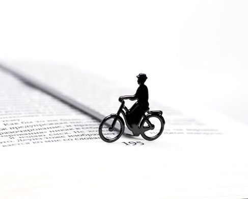 "Metal Bookmark for books ""Lady on a bike"" by Atelier Article, Black"