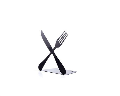 "One Kitchen bookend ""Silverware Cross"" functional kitchen shelf decor by Atelier Article, Black"