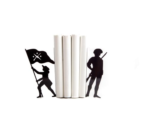 "Metal bookends ""Minutemen"" US history inspired bookends by Atelier Article, Black"