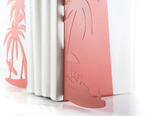 Metal Bookends - On the Beach - vacation shelf decor, Pink