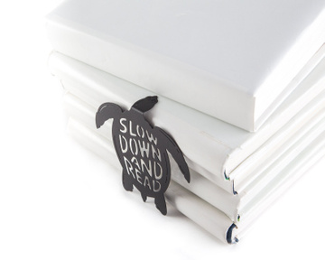Metal bookmark / Turtle Says Slow Down and Read / large / by Atelier Article, Black