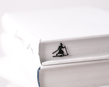 "Metal Bookmark for books ""High Hat Skier"" by Atelier Article, Black"
