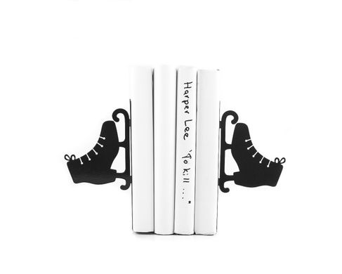 "Metal Bookends ""Ice skates"" by Atelier Article, Black"