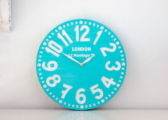 "Wooden handmade wall clock ""London turquoise"" by Atelier Article"