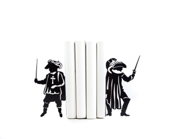 "Metal bookends ""Musketeers"" French history inspired bookends by Atelier Article, Black"