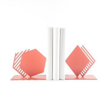 Metal Bookends «Coral Geometry and Stipes» by Atelier Article, Pink