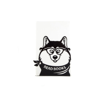 "One metal bookend ""Woofy says Read Books"" by Atelier Article, Black"