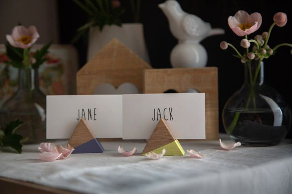 Name Card Holders - a set of 30 Triangular Wooden Place card holders by Atelier Article, Beige