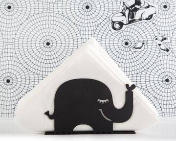 Unique napkin holder Black Elephant // Scandi style modern design kitchen accessory // FREE SHIPPING
