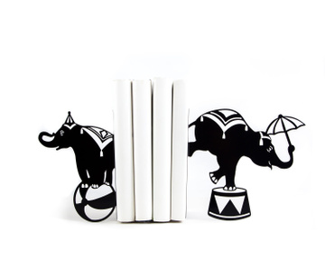 "Metal Bookends ""Circus Elephants"" by Atelier Article, Black"