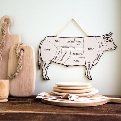 "Wall Decor ""BULL"" Meat cutting chart by Atelier Article, Assorted"