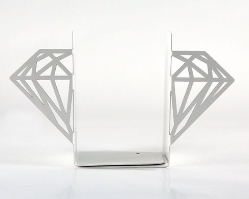 Metal bookends «Diamonds» white edition by Atelier Article, White