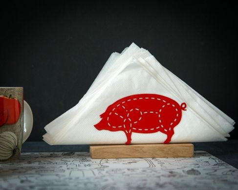 PIG napkin holder FREE SHIPPING metal on salvaged wood base unique decor for kitchen centerpiece
