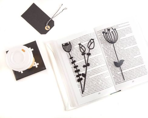 "Metal Bookmark ""Bell flower"" by Atelier Article, Black"