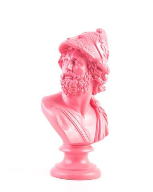 Pericles Pink Ceramic Plaster Bust Statue // Traditional Ancient Sculpture Replicated trendy decor for modern home // Free Shipping