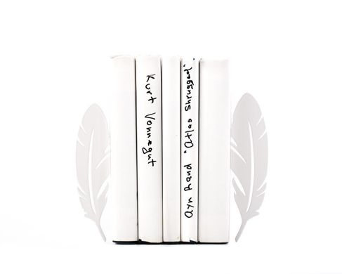 "Metal Bookends ""Feathers"" by Atelier Article, White"