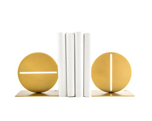"Metal Bookends ""Slit circle"" by Atelier Article, Golden"