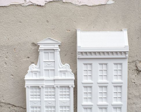 Architectural plaster models Facades of Amsterdam Houses I and II Unique wall art by Atelier Article, White