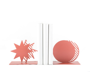 Metal Bookends «Coral Star and Moon» by Atelier Article, Pink
