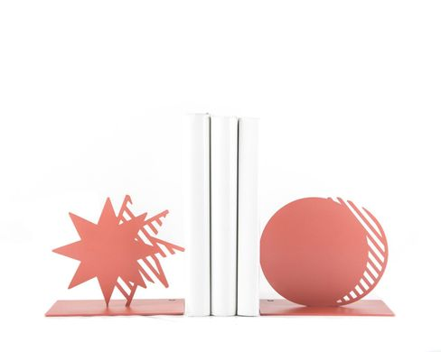 Metal Bookends Coral Star and Moon // unique book holders for modern home, Pink