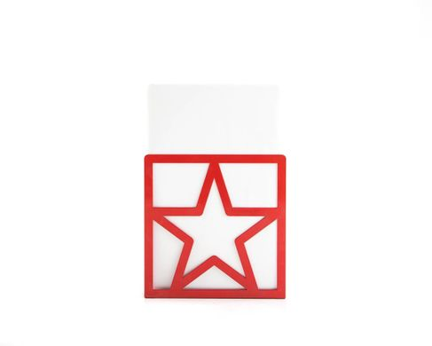 Metal bookends «Red Star» functional shelf decor by Atelier Article, Red