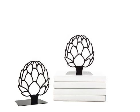 Metal Kitchen bookends «Artichoke» black edition by Atelier Article, Black