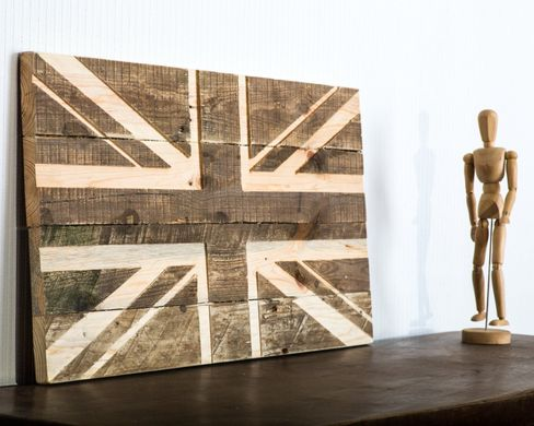 Wall art // Union Jack flag wooden carved edition // by Atelier Article, Beige