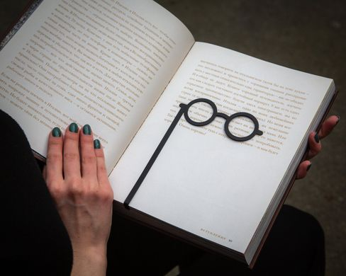 Awesome Metal bookmark «Round Glasses» by Atelier Article, Black