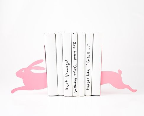 Nursery bookends «Hare on the run» Pink edition by Atelier Article, Pink