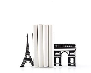 Decorative Metal Bookends «Symbols of Paris» by Atelier Article, Black