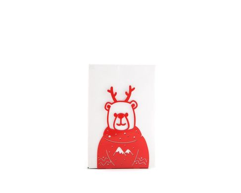 One decorative bookend Christmas Bear / Decor for holidays / by Atelier Article, Red