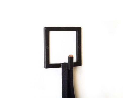 Minimalist Metal Wall Hook // Black with copper tip // Trendy Nordic style Square hanger