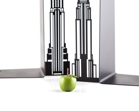 Metal bookends Towers of New York // functional decor for modern home, Black