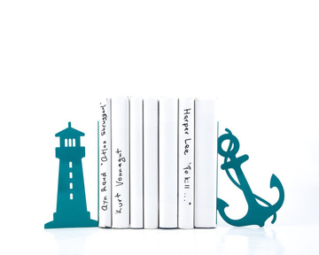 "Metal Bookends ""Lighthouse and anchor"" / sea theme nursery by Atelier Article, Blue"