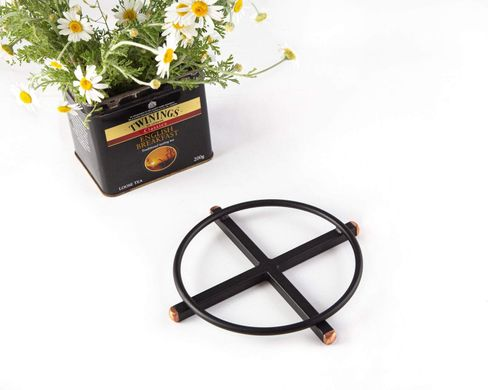 Minimalist Metal trivet hand welded // Black velvety with copper ends pot stand // stylish housewarming gift // Free Shipping