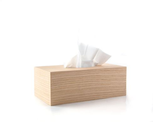 Wooden Simple Tissue Box Cover // Ash wood // by Atelier Article, Beige